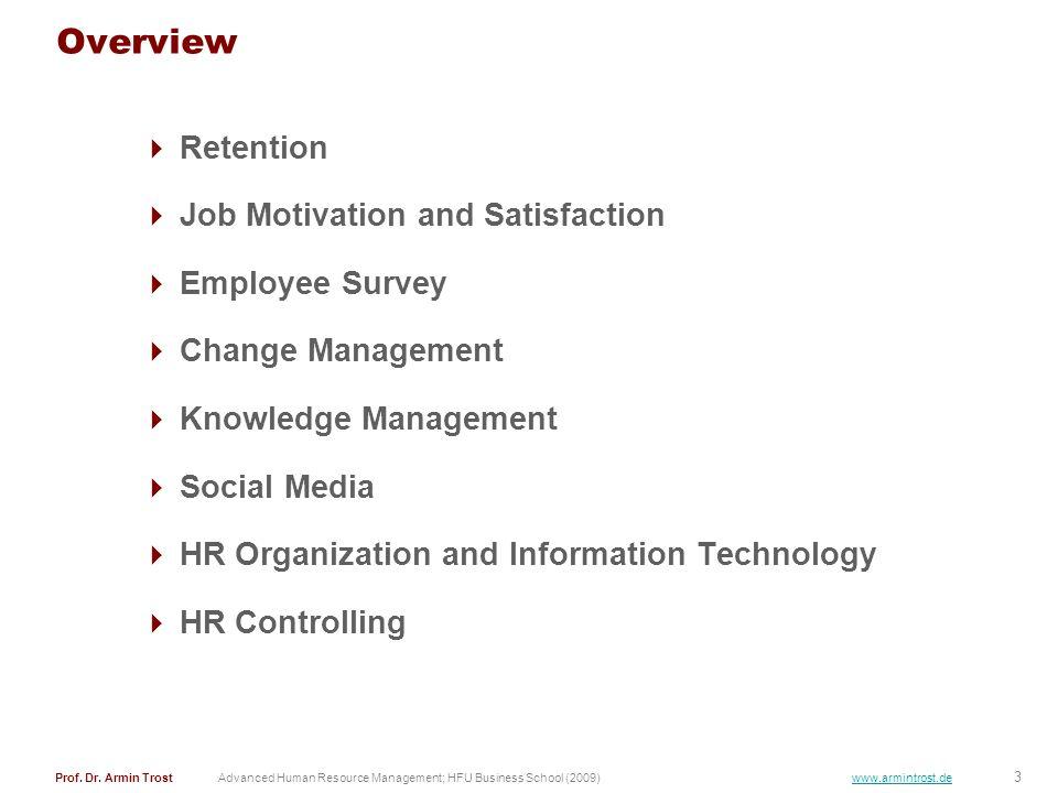 Overview Retention Job Motivation and Satisfaction Employee Survey