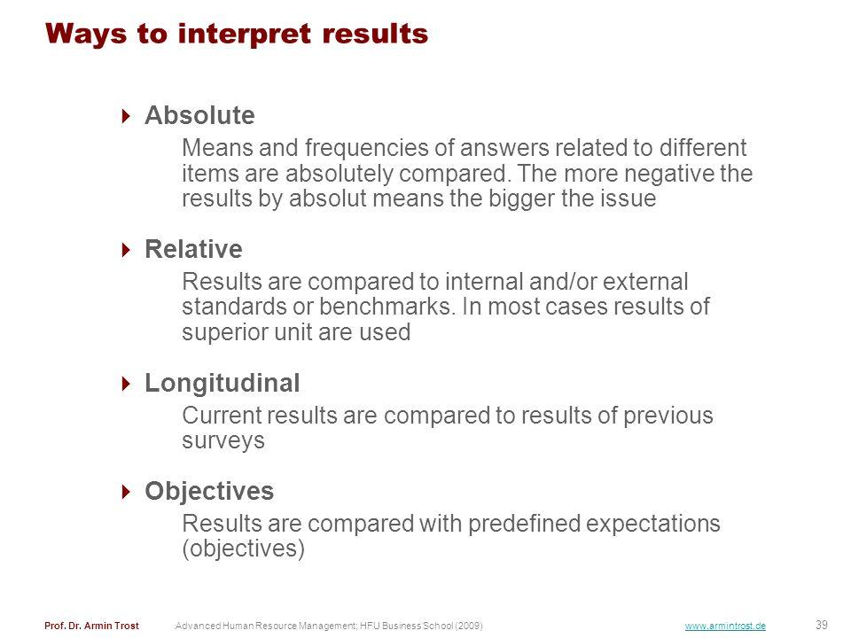 Ways to interpret results