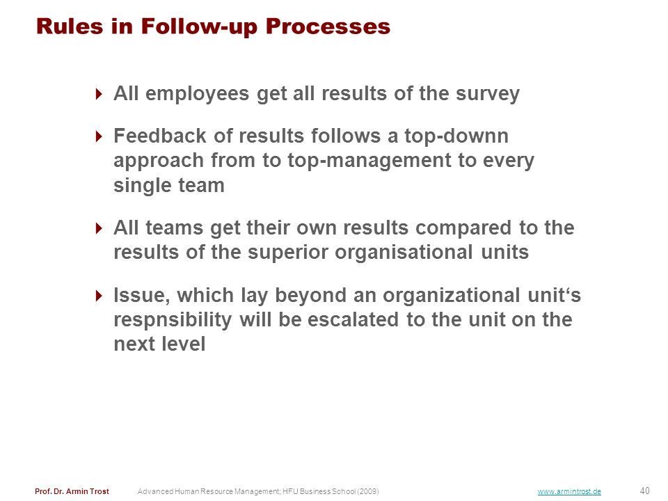 Rules in Follow-up Processes