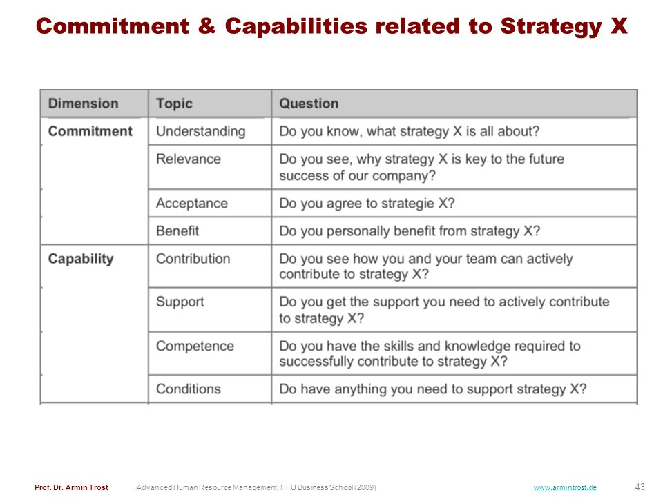 Commitment & Capabilities related to Strategy X
