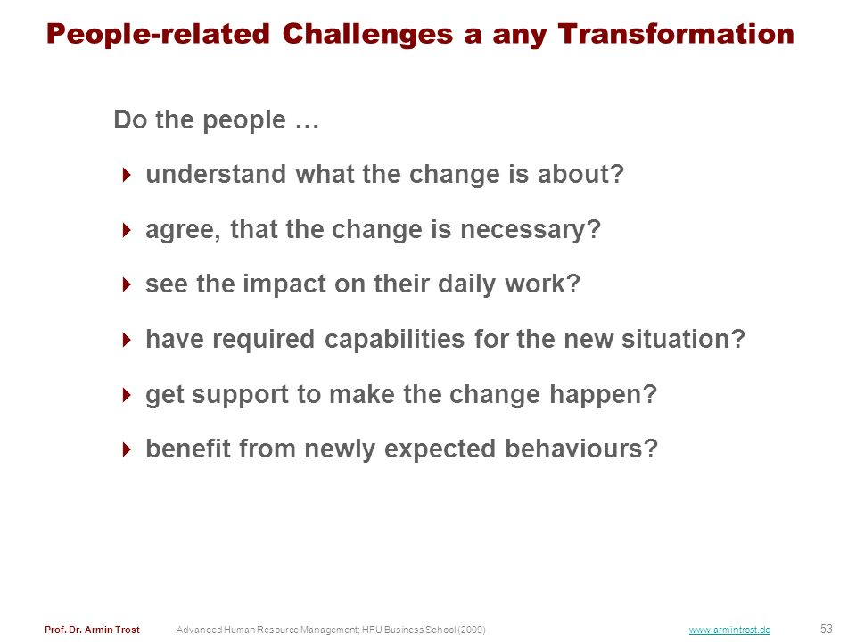 People-related Challenges a any Transformation