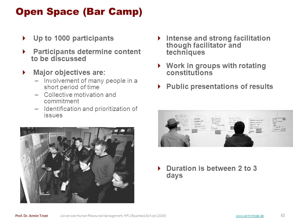 Open Space (Bar Camp) Up to 1000 participants