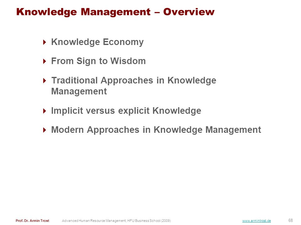 Knowledge Management – Overview
