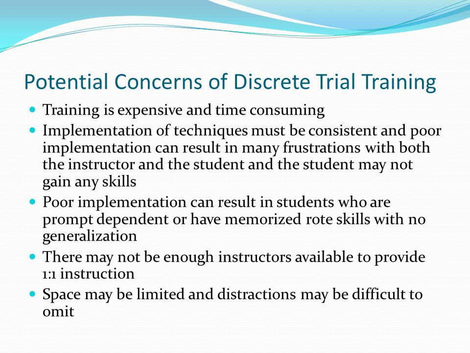 Potential Concerns of Discrete Trial Training