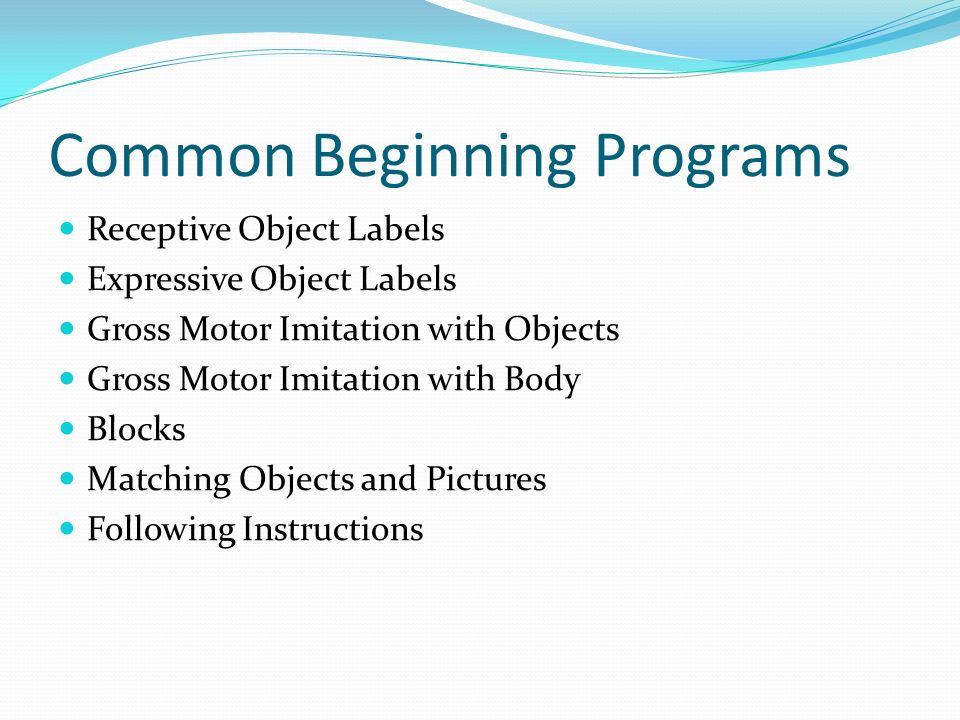Common Beginning Programs