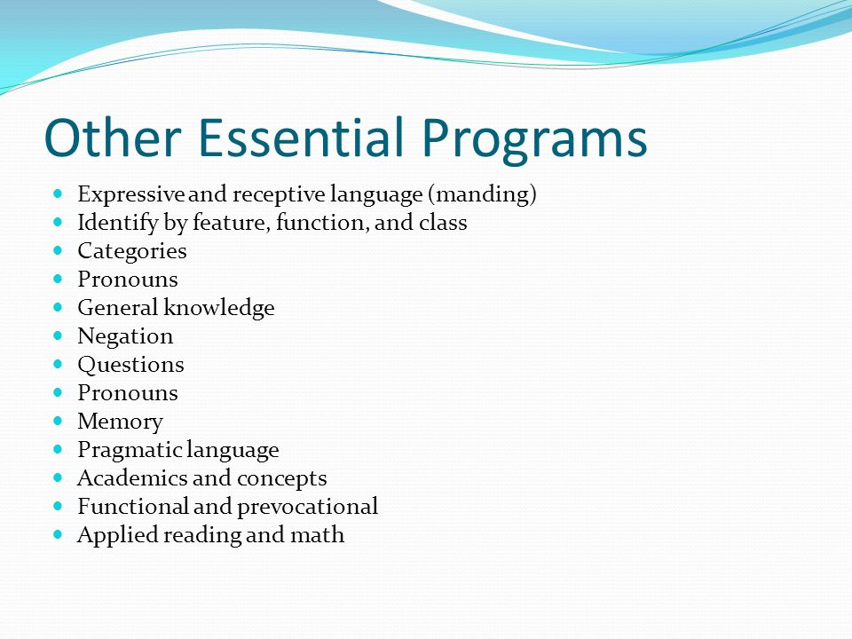 Other Essential Programs