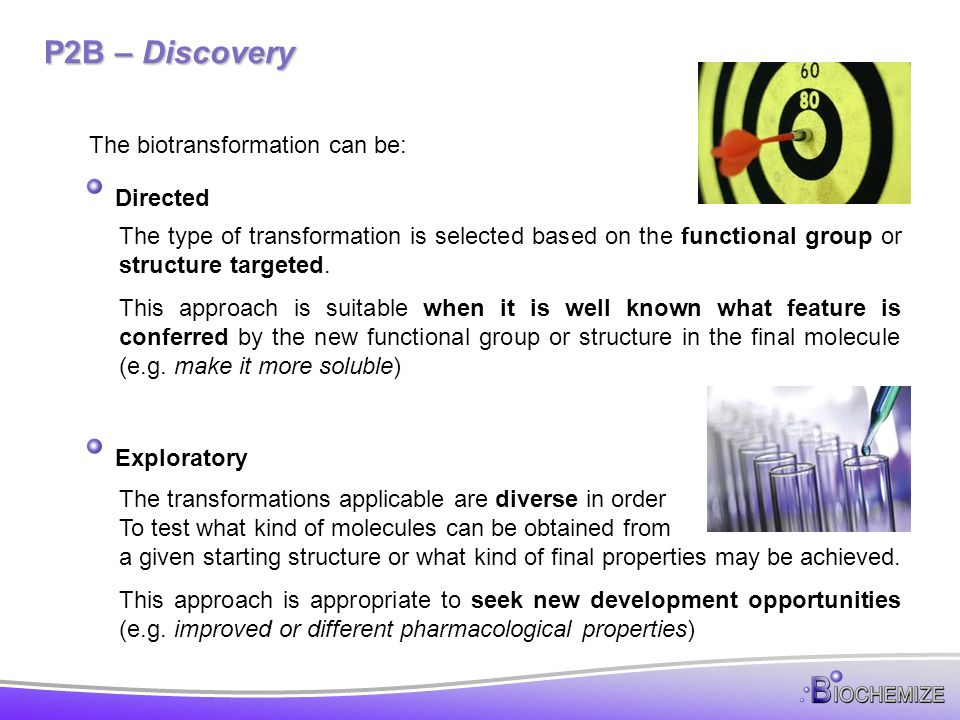 P2B – Discovery The biotransformation can be: Directed