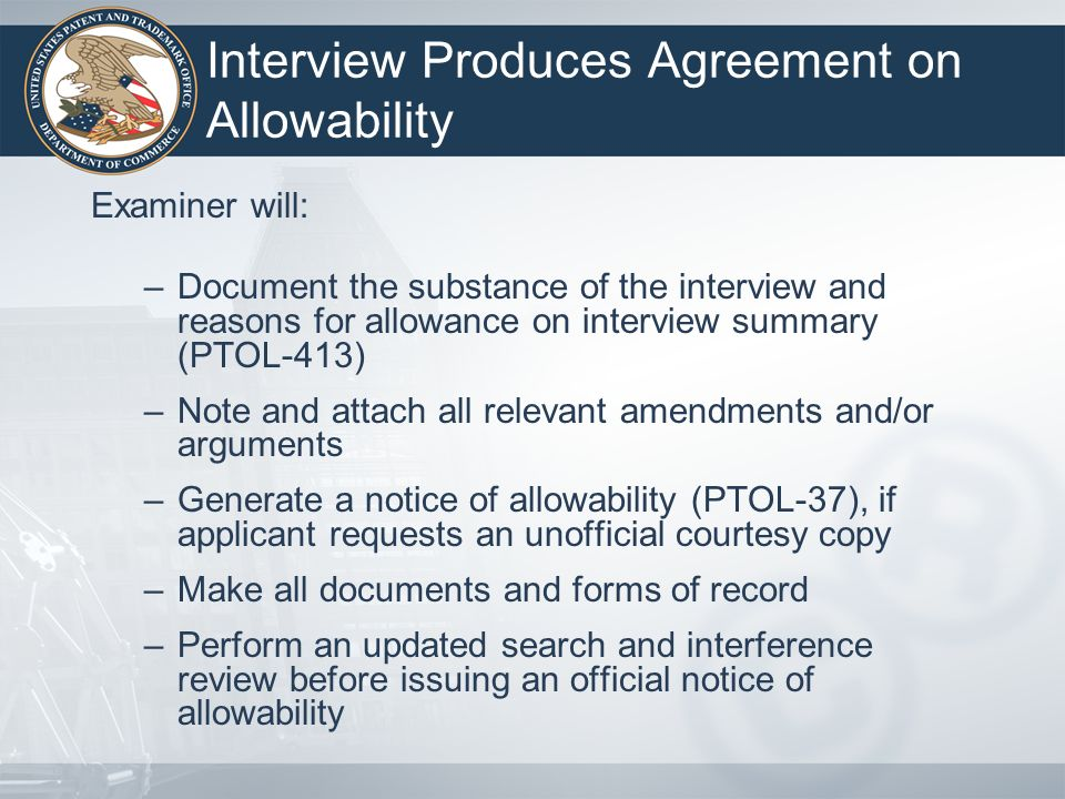 Interview Produces Agreement on Allowability