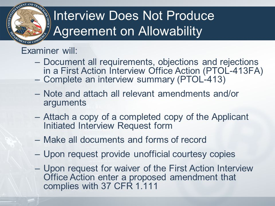 Interview Does Not Produce Agreement on Allowability
