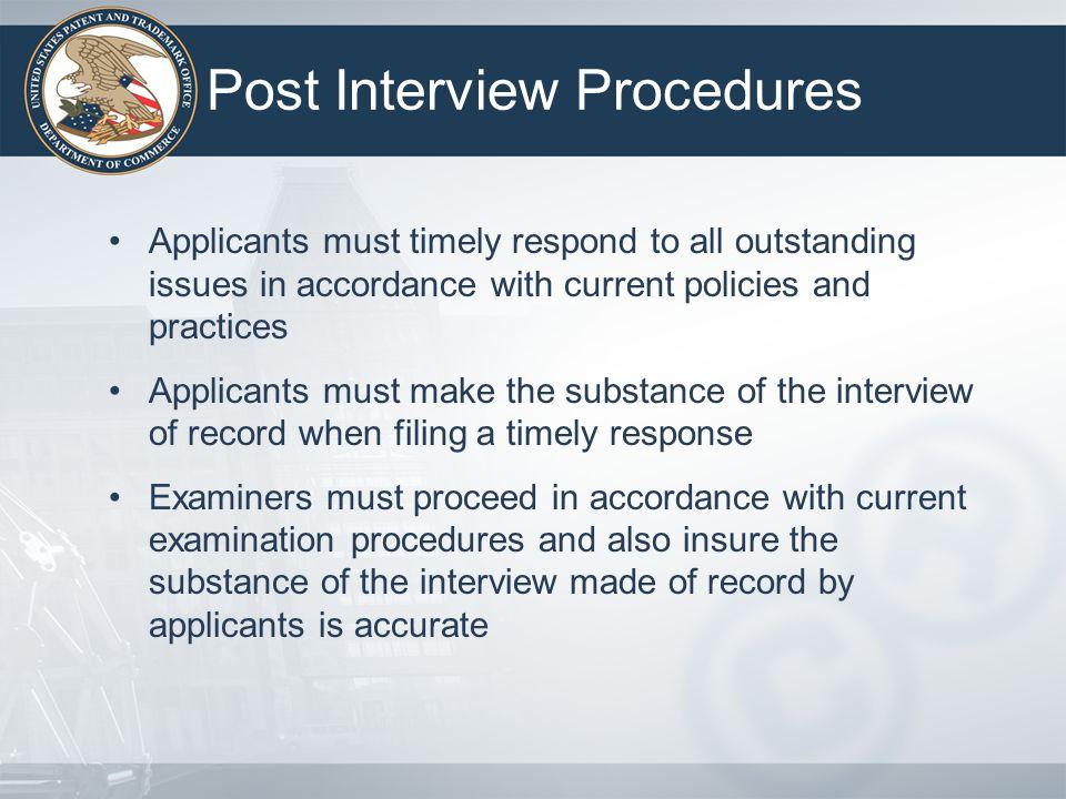 Post Interview Procedures