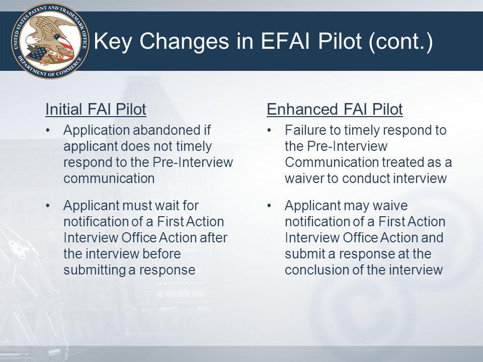 Key Changes in EFAI Pilot (cont.)