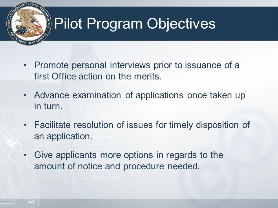Pilot Program Objectives