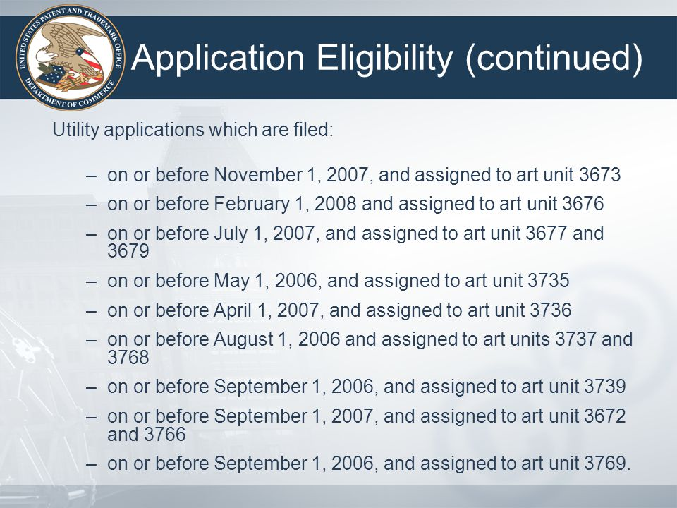 Application Eligibility (continued)