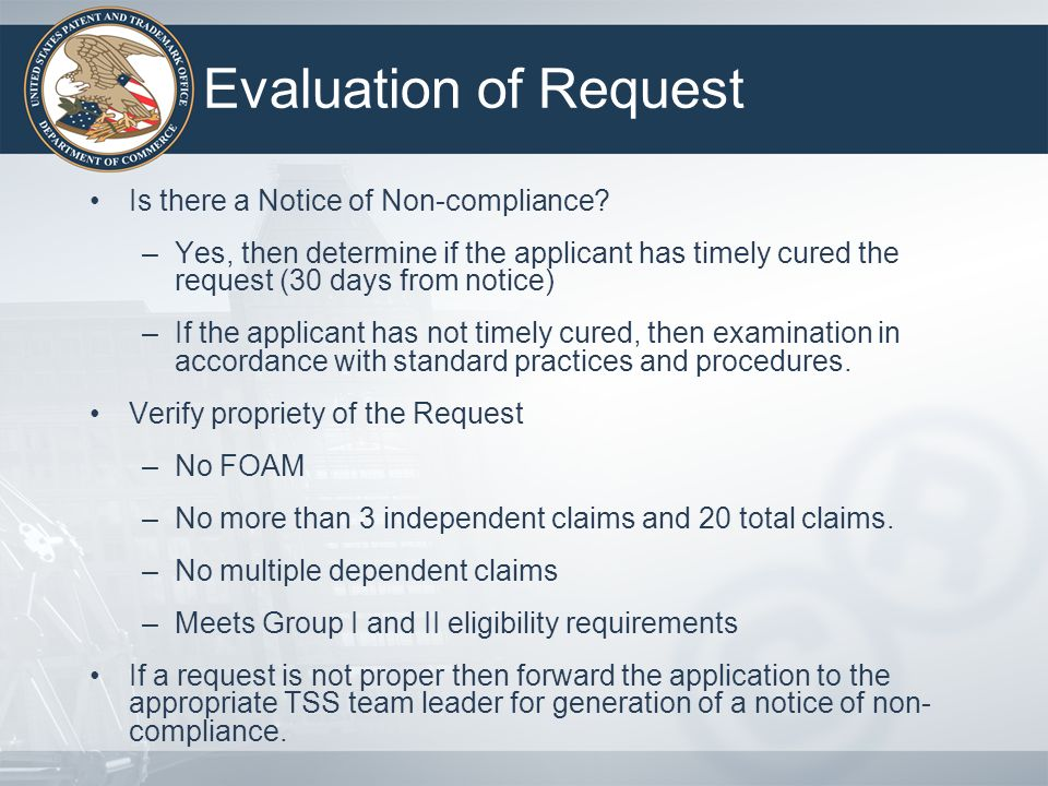 Evaluation of Request Is there a Notice of Non-compliance
