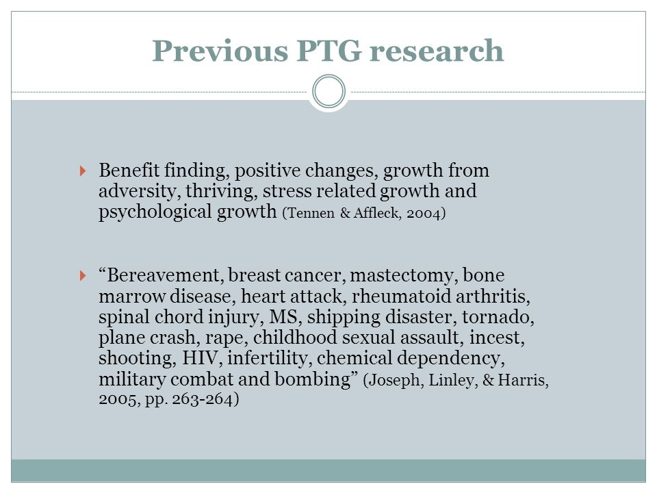Previous PTG research