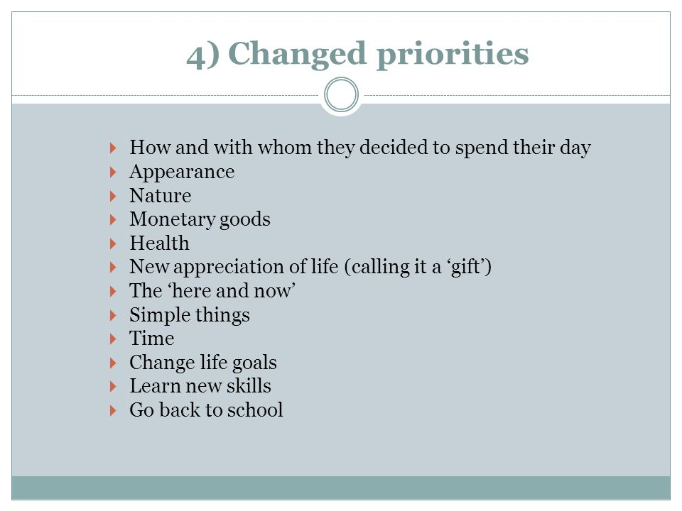 4) Changed priorities How and with whom they decided to spend their day. Appearance. Nature. Monetary goods.