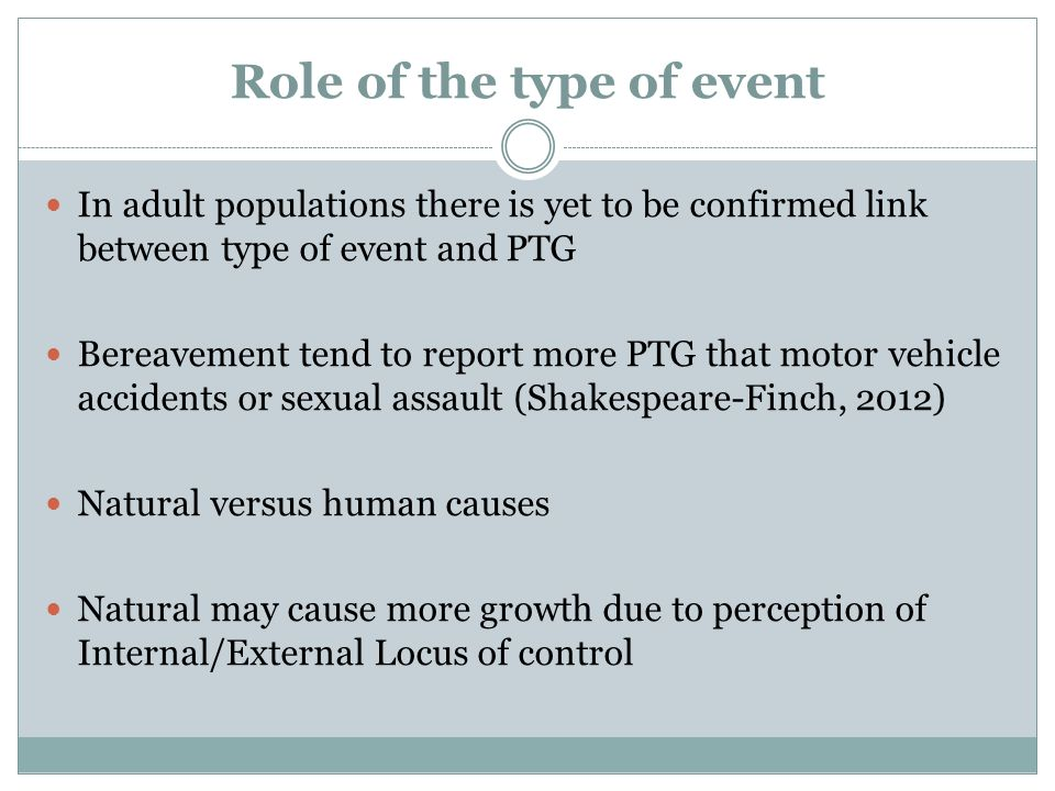 Role of the type of event