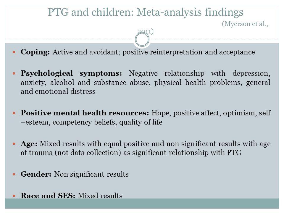 PTG and children: Meta-analysis findings (Myerson et al., 2011)