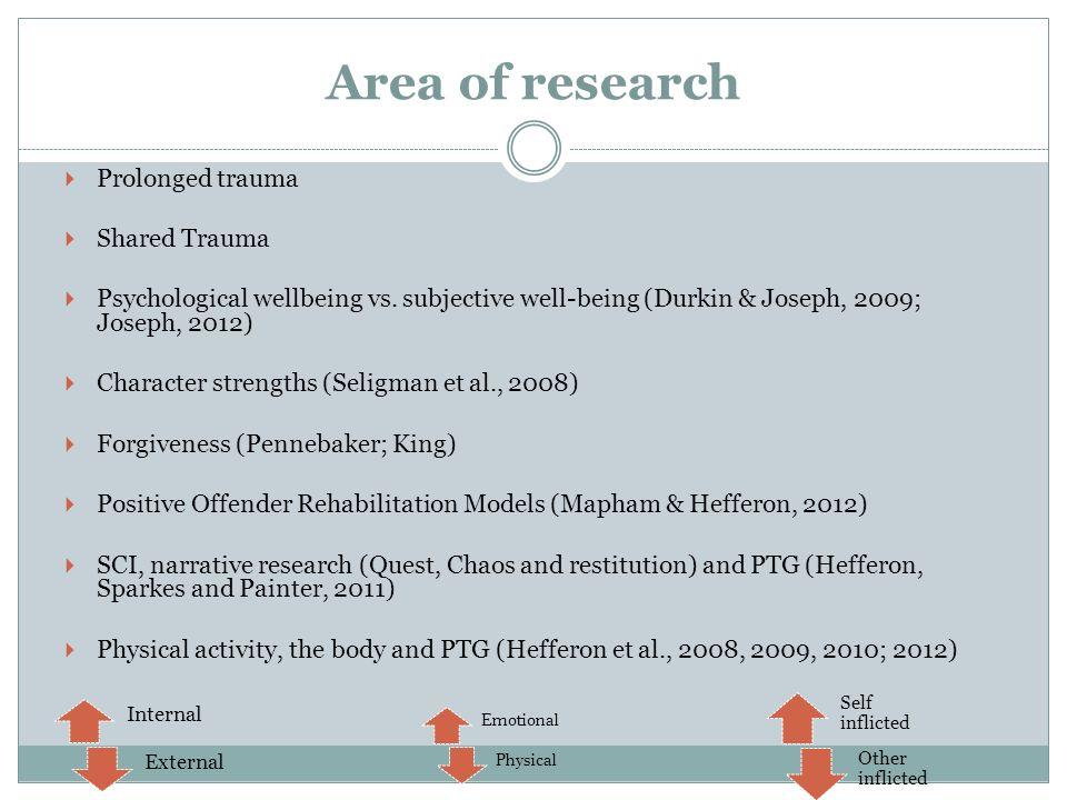 Area of research Prolonged trauma Shared Trauma