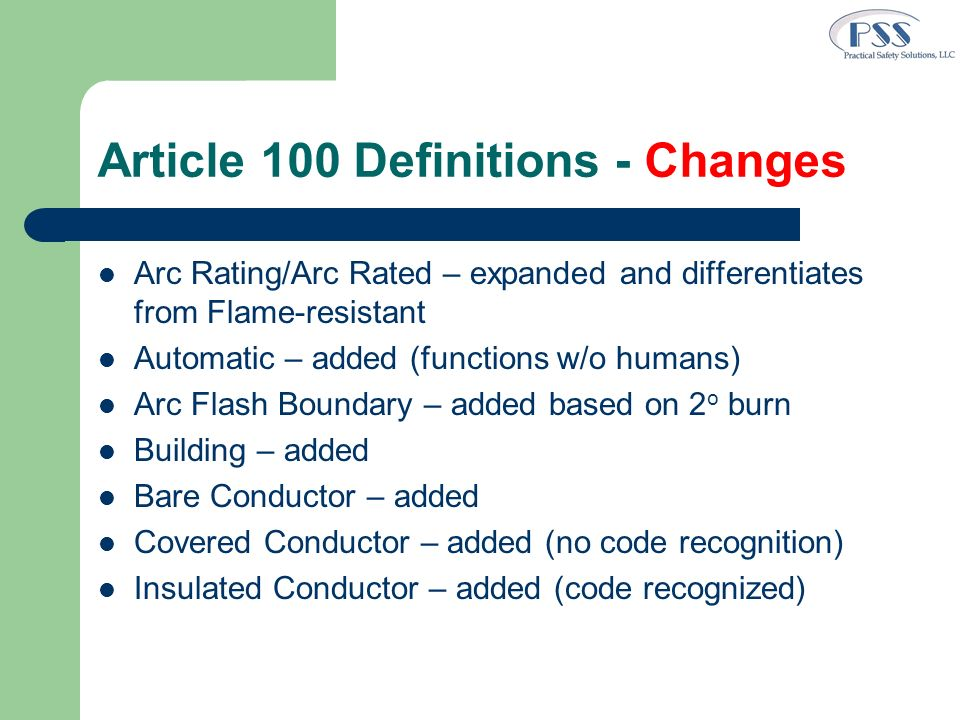 Article 100 Definitions - Changes