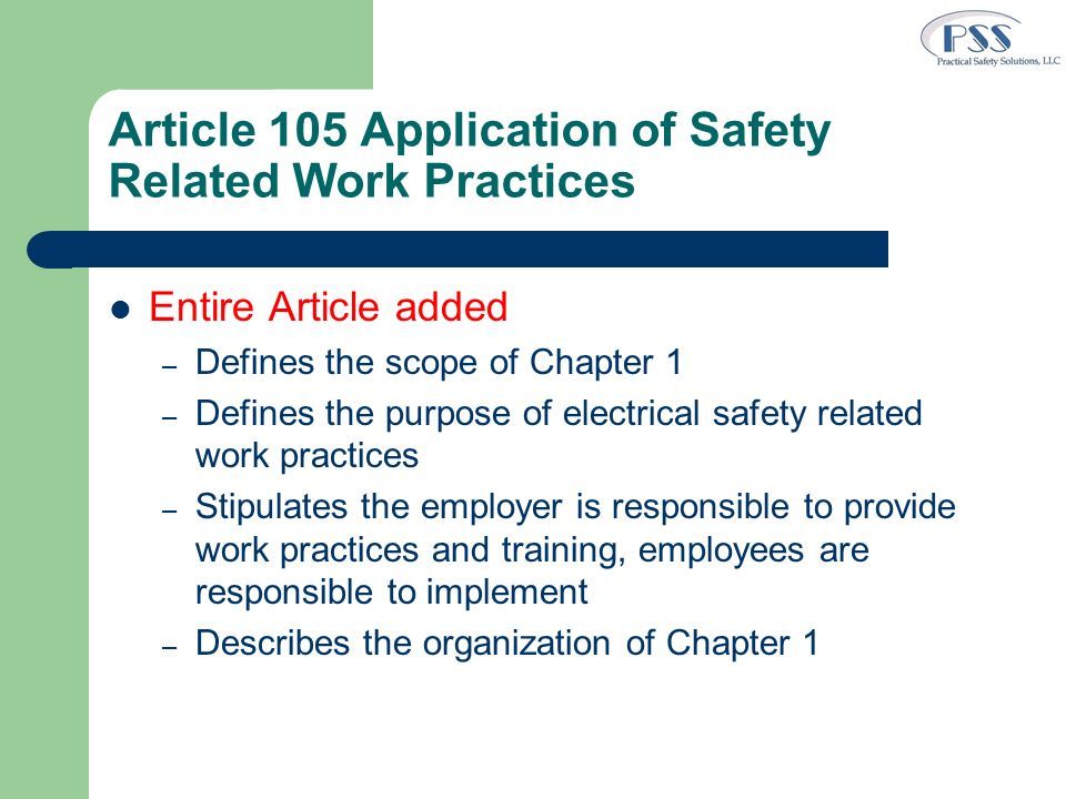 Article 105 Application of Safety Related Work Practices