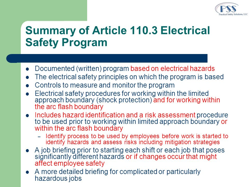 Summary of Article 110.3 Electrical Safety Program