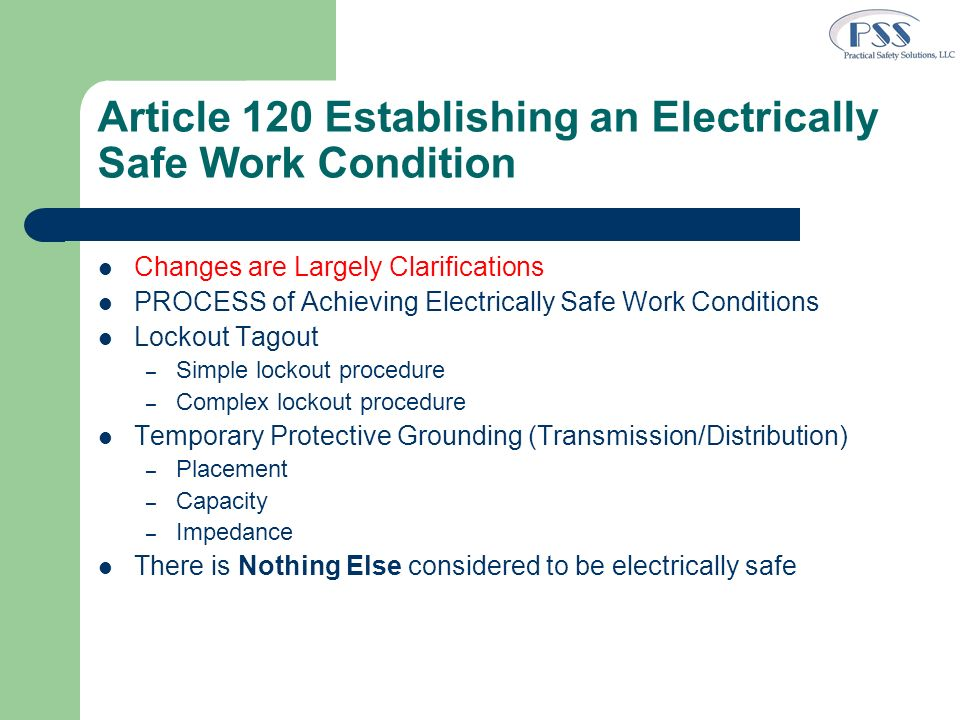 Article 120 Establishing an Electrically Safe Work Condition