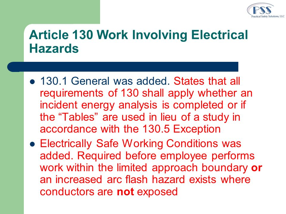 Article 130 Work Involving Electrical Hazards