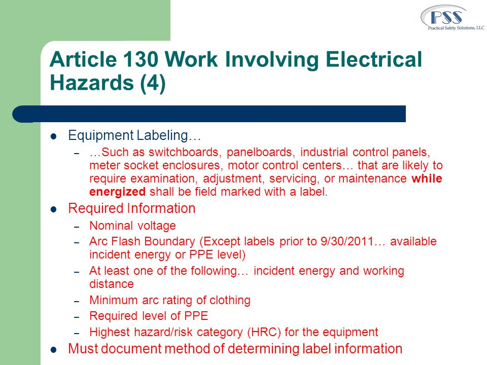 Article 130 Work Involving Electrical Hazards (4)