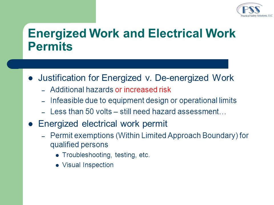 Energized Work and Electrical Work Permits
