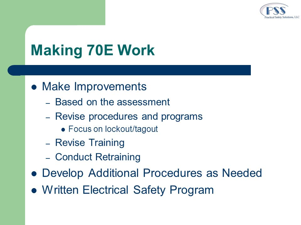 Making 70E Work Make Improvements