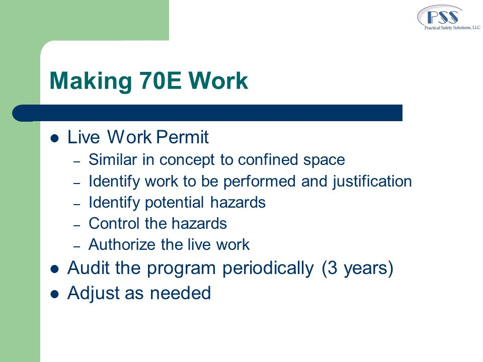 Making 70E Work Live Work Permit