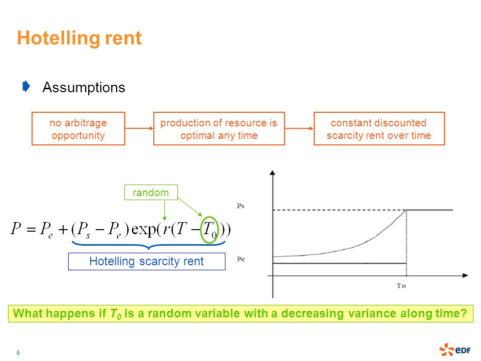 Hotelling rent Assumptions Hotelling scarcity rent
