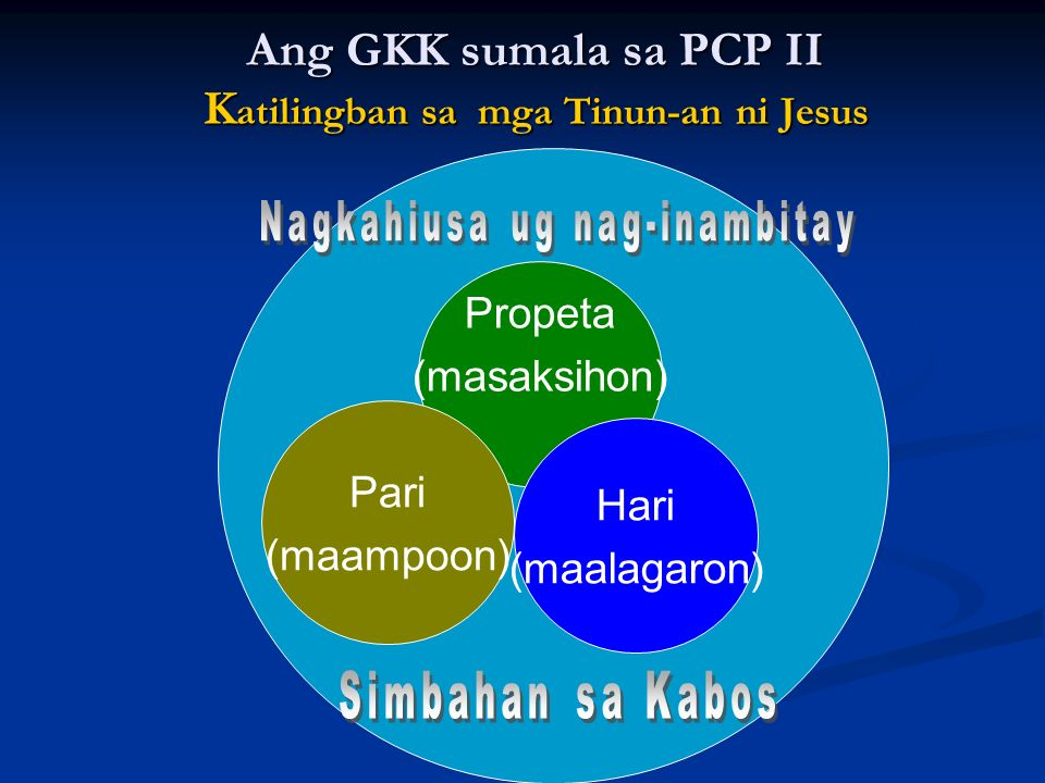 Ang GKK sumala sa PCP II Katilingban sa mga Tinun-an ni Jesus
