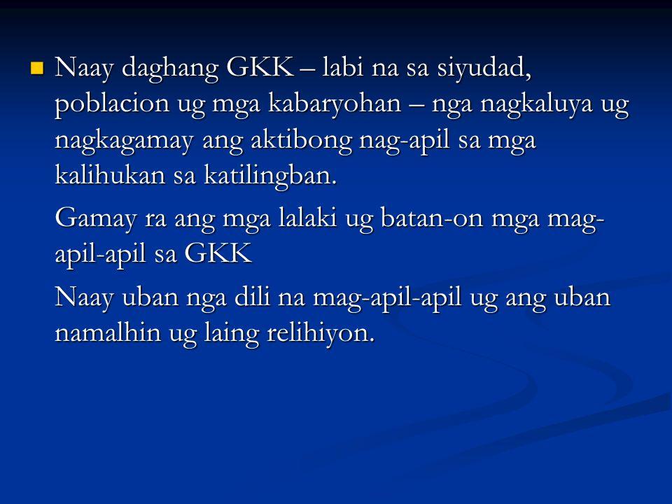 Naay daghang GKK – labi na sa siyudad, poblacion ug mga kabaryohan – nga nagkaluya ug nagkagamay ang aktibong nag-apil sa mga kalihukan sa katilingban.