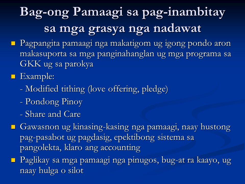 Bag-ong Pamaagi sa pag-inambitay sa mga grasya nga nadawat