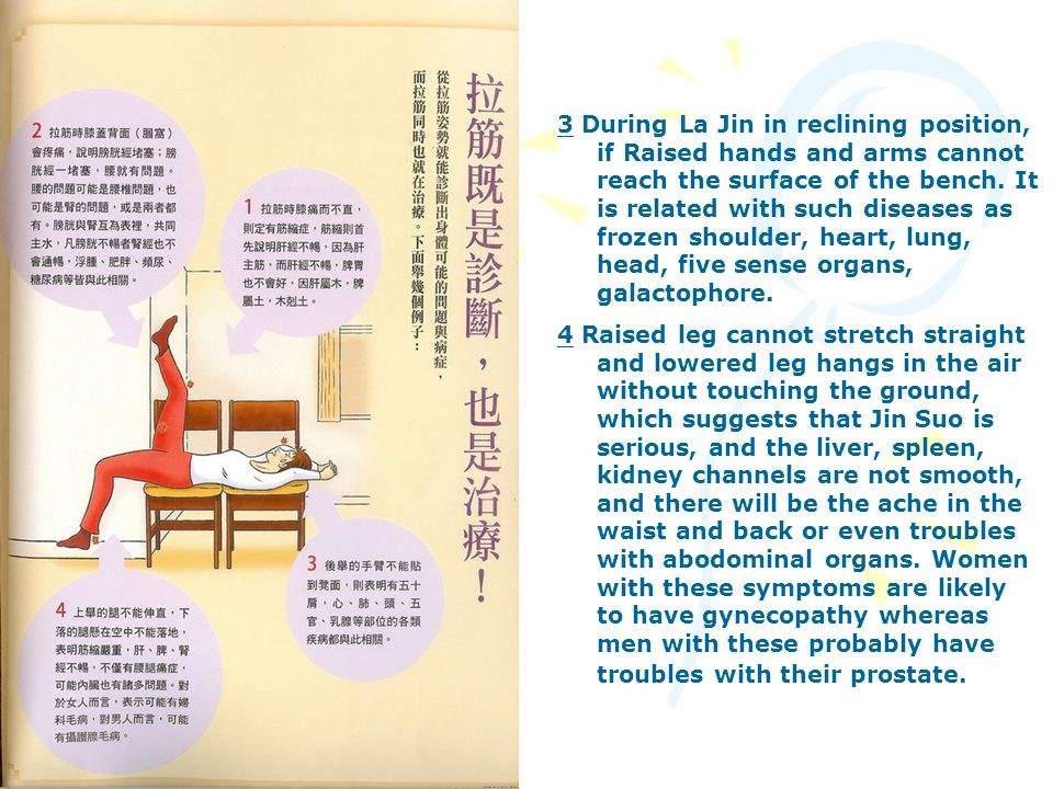 3 During La Jin in reclining position, if Raised hands and arms cannot reach the surface of the bench. It is related with such diseases as frozen shoulder, heart, lung, head, five sense organs, galactophore.