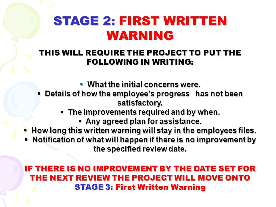 Advised to read the projects disciplinary procedures