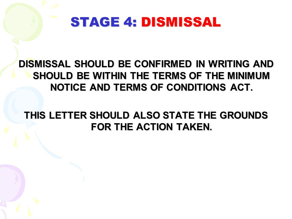 STAGE 2: FIRST WRITTEN WARNING