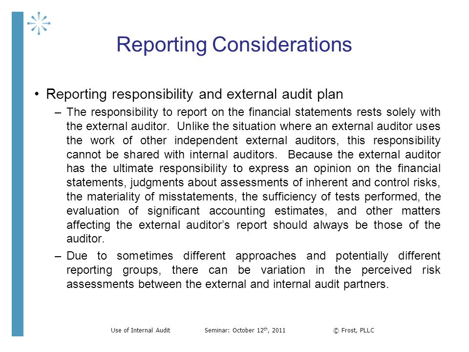 The External Auditor'S Perspective And Use Of Internal Audit - Ppt