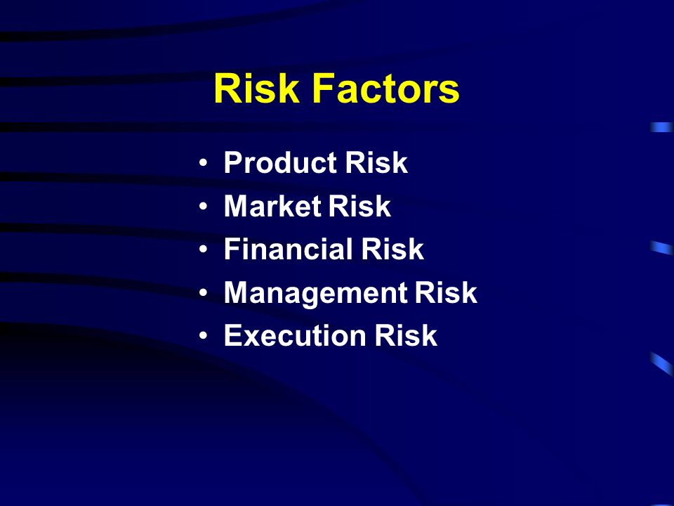 Risk Factors Product Risk Market Risk Financial Risk Management Risk