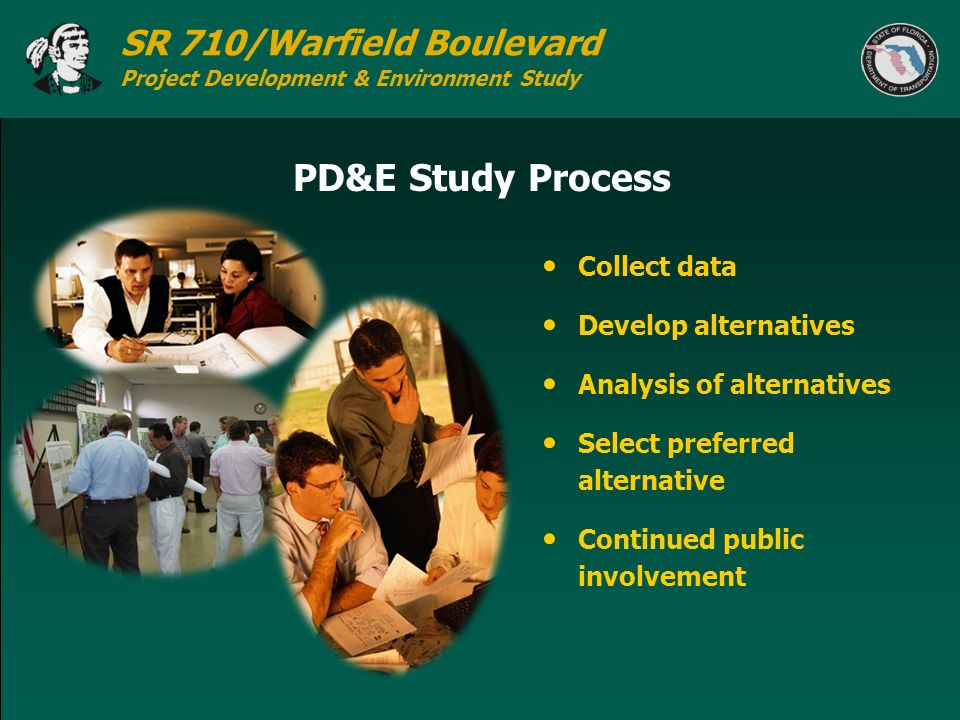 PD&E Study Process Collect data Develop alternatives