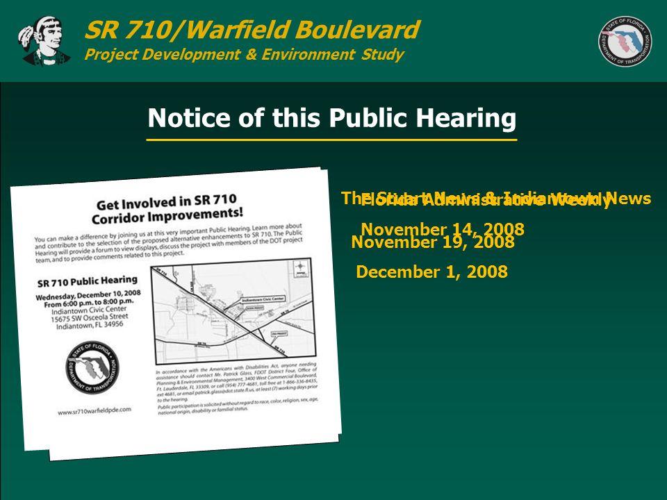 Notice of this Public Hearing