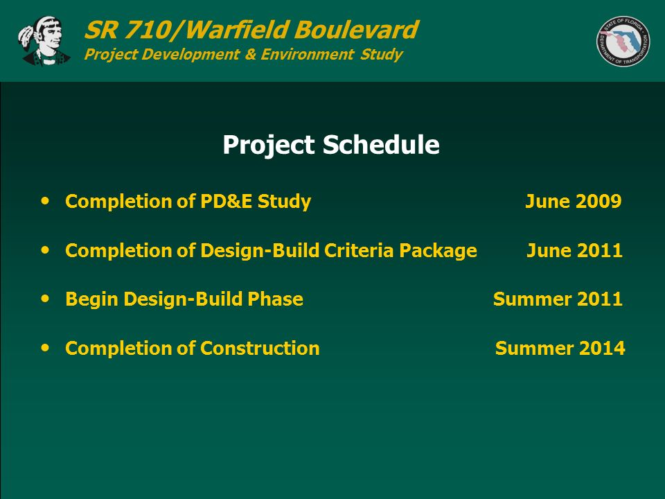 Project Schedule Completion of PD&E Study June 2009