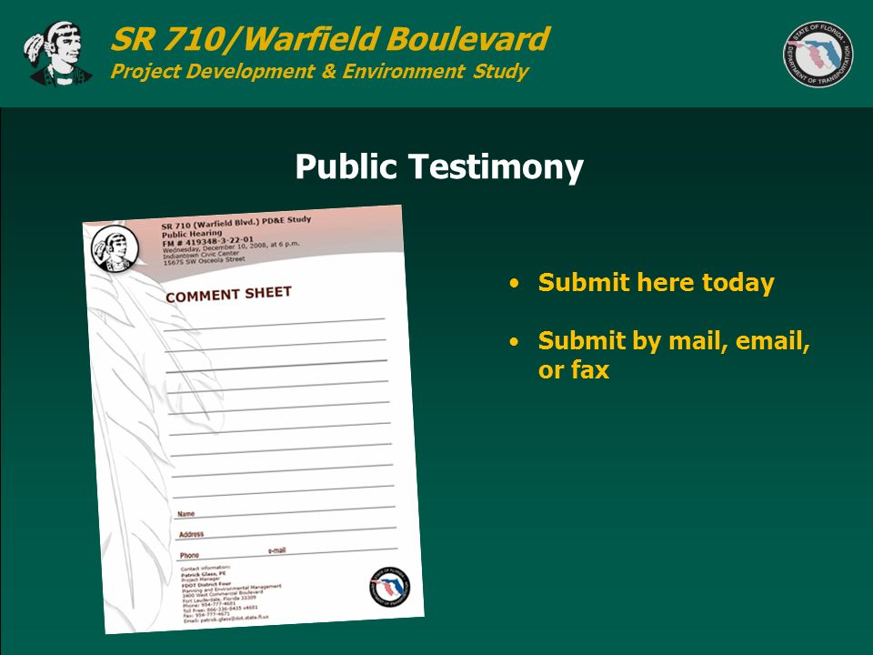 Public Testimony Submit here today Submit by mail, email, or fax