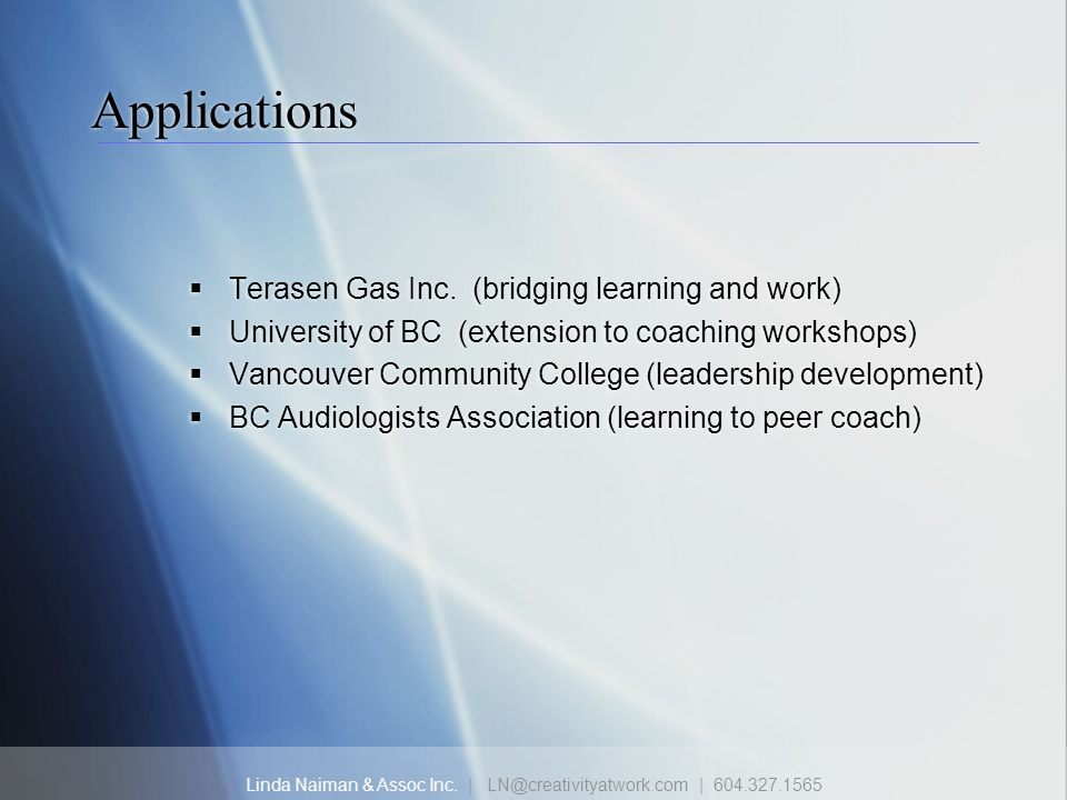 Applications Terasen Gas Inc. (bridging learning and work)