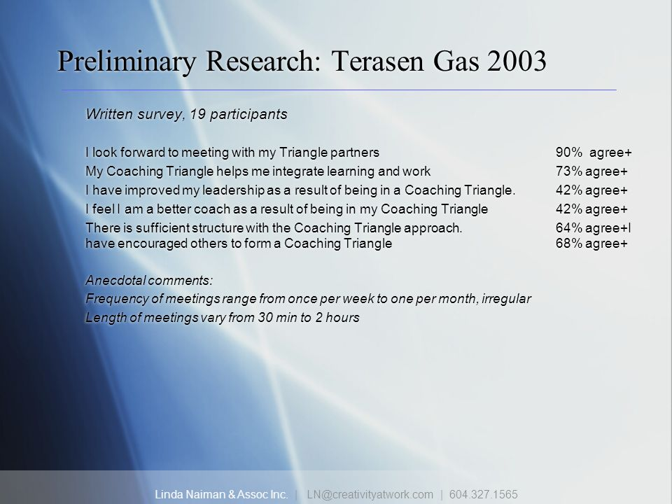 Preliminary Research: Terasen Gas 2003
