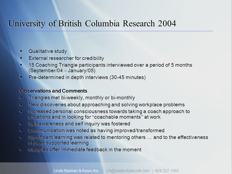 University of British Columbia Research 2004