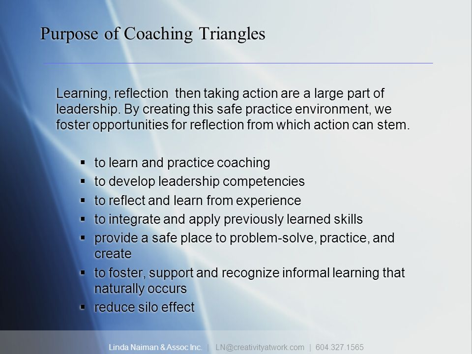 Purpose of Coaching Triangles