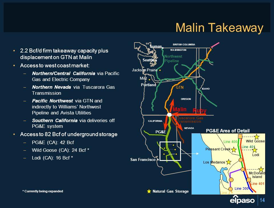 Malin Takeaway Sumas. BRITISH COLUMBIA. 2.2 Bcf/d firm takeaway capacity plus displacement on GTN at Malin.